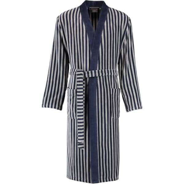 Cawö Herren Bademantel Kimono 3833 - Farbe: blau-graphit - 17 M